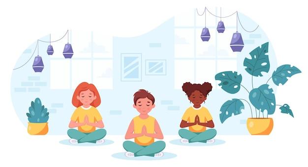 Crianças de diferentes nacionalidades meditando em pose de lótus ioga para crianças