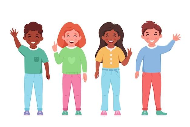 Crianças de diferentes nacionalidades sorrindo e acenando com as mãos