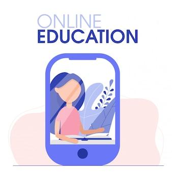 Crianças de educação, treinando com o professor on-line. o aluno usa computador, smartphone ou laptop para estudar. treinamento escolar em casa. aprendizagem plana.