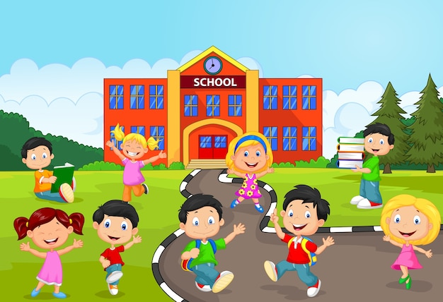 Crianças de escola felizes em frente à escola