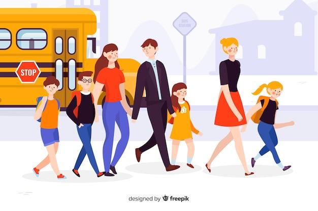 Crianças de escola plana com os pais