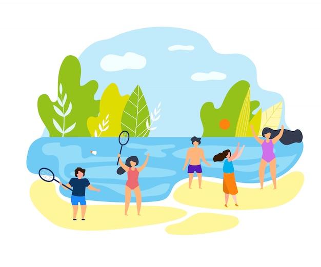 Crianças de férias de família de horário de verão na praia.