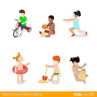 Crianças de férias de praia ativas em jogo de ícones de conceito de infográfico de web parentalidade.