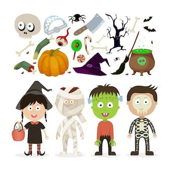 Crianças de halloween, bruxa, zumbi, múmia, esqueleto.