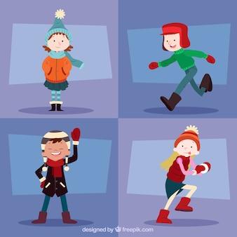 Crianças de inverno com roupas quentes