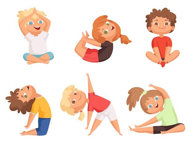 Crianças de ioga. crianças fazendo diferentes exercícios de ioga ginástica jovem