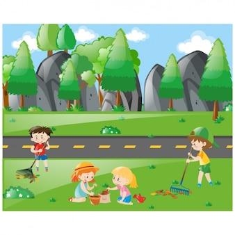Crianças de limpeza do país