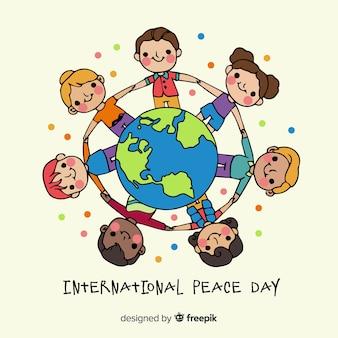 Crianças de mãos dadas ao redor do mundo