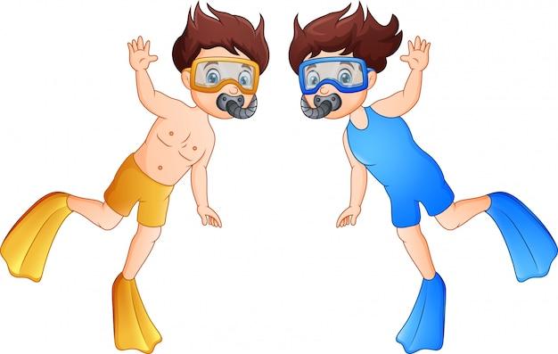 Crianças de mergulhador dos desenhos animados, acenando a mão