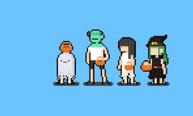 Crianças de pixel art cartoon em personagem de fantasia de halloween. Vetor Premium