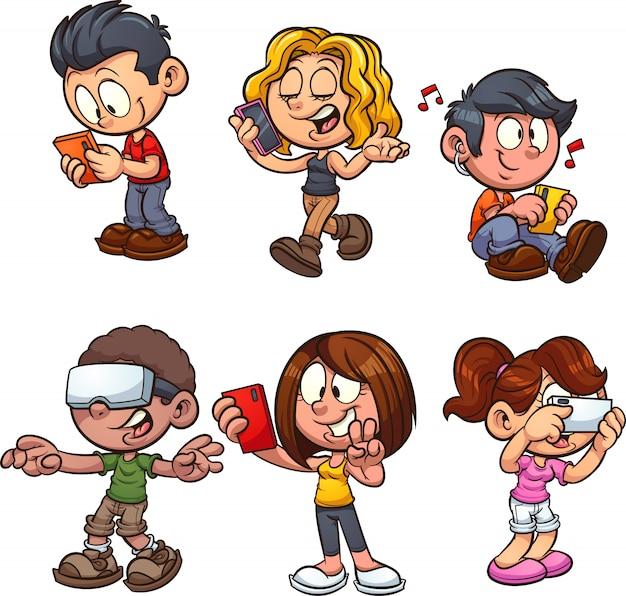 Crianças de smartphones