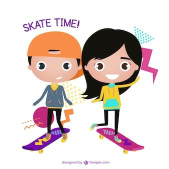 Crianças de sorriso com seus skates