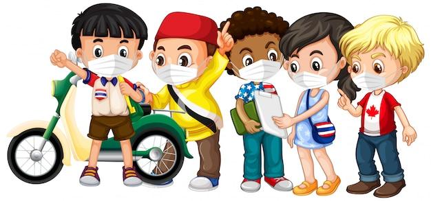 Crianças de várias culturas usando máscara