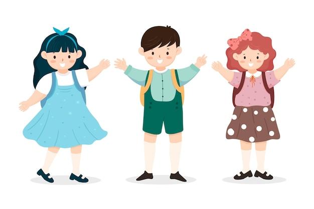 Crianças de volta à coleção escolar