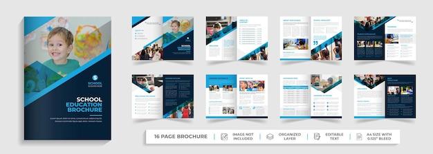 Crianças de volta à escola admissão modelo de folheto de 16 páginas com duas dobras perfil de empresa design de folheto