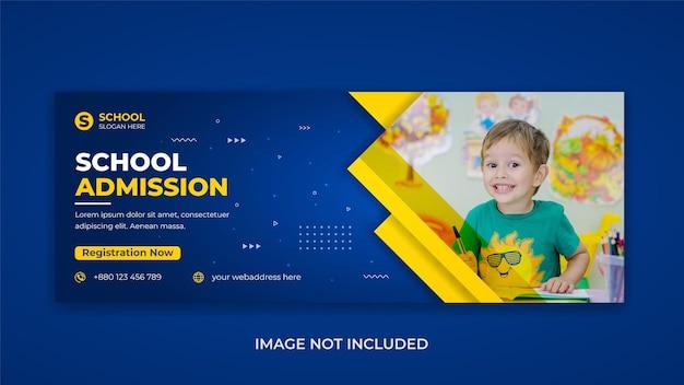 Crianças de volta à escola admissão na mídia social postar foto da capa do facebook desenho do folheto da web
