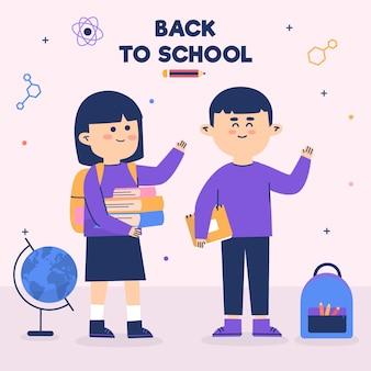 Crianças de volta à escola com livros