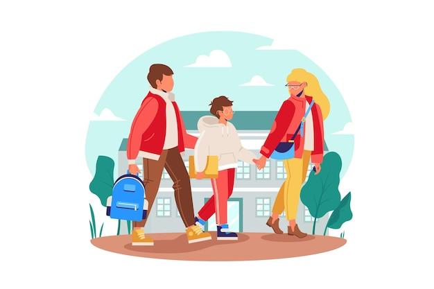 Crianças de volta à escola com os pais