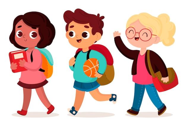 Crianças de volta à escola em design plano