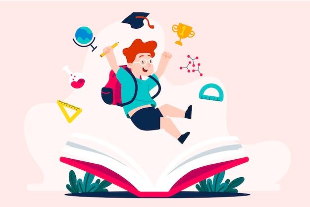 Crianças de volta à ilustração da escola