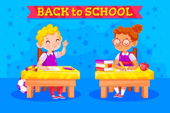 Crianças de volta ao conceito de escola