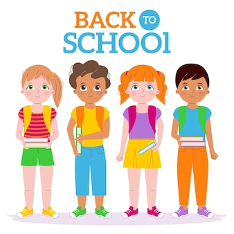 Crianças de volta ao conjunto da escola