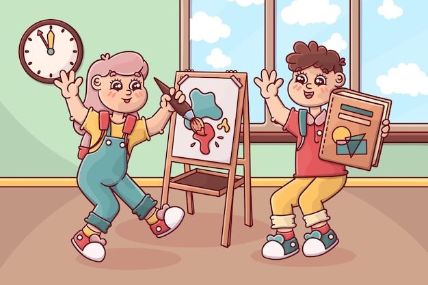 Crianças de volta ao desenho da escola