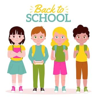Crianças de volta ao pacote escolar