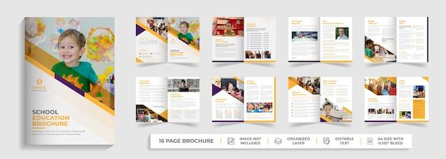 Crianças de volta às aulas admissão educação bi dobra modelo de folheto design de folheto de empresa