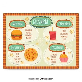 Crianças delicioso menu do folheto