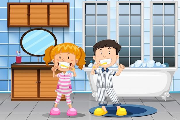 Crianças, dentes escovando, em, banheiro