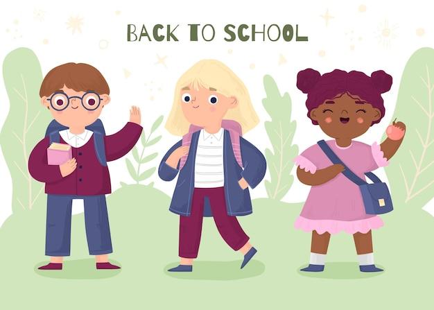 Crianças desenhadas à mão indo para a escola