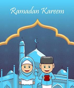 Crianças desenhadas à mão ramadan kareem