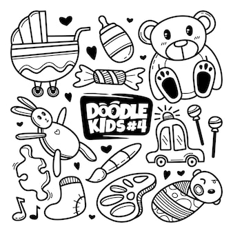 Crianças desenhadas mão doodle conjunto