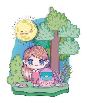 Crianças, desenho de anime menina bonitinha com mochila escolar ao ar livre