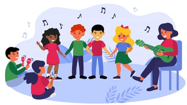 Crianças desfrutando de aula de música