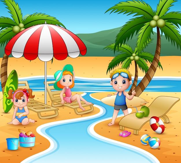 Crianças, desfrutando, um, verão, férias, praia