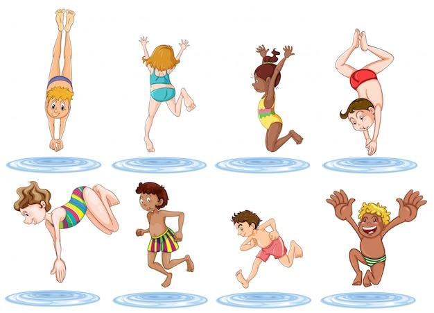 Crianças diferentes, aproveitando a água