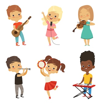 Crianças diferentes cantando