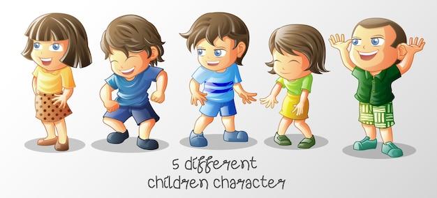 Crianças diferentes no estilo cartoon.
