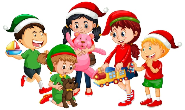 Crianças diferentes vestindo fantasias com o tema de natal e brincando com seus brinquedos isolados no fundo branco