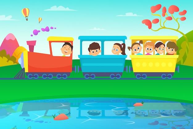 Crianças dirigindo um trem no mundo de conto de fadas