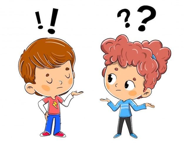 Crianças discutindo, debatendo ou conversando