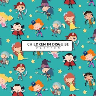 Crianças, disfarce, motivo, ou, padrão, fundo