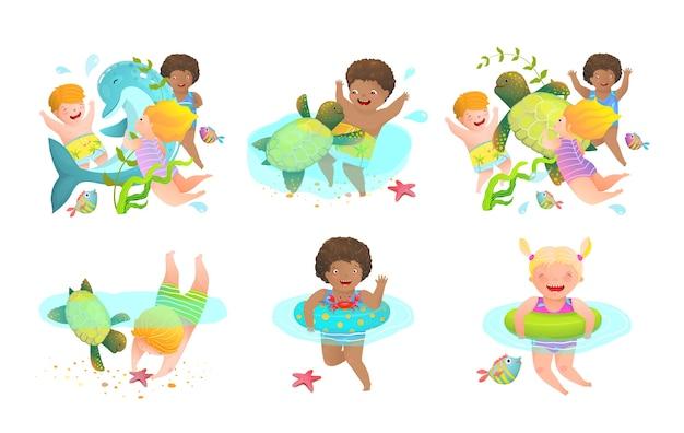 Crianças divertidas e atividades aquáticas de desenhos animados do jardim de infância para crianças com infláveis e criaturas marinhas. férias felizes para nadar. ilustração.