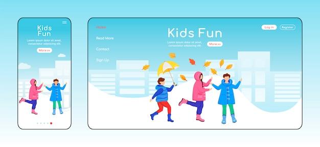 Crianças divertidas modelo de cor plana da página de destino.