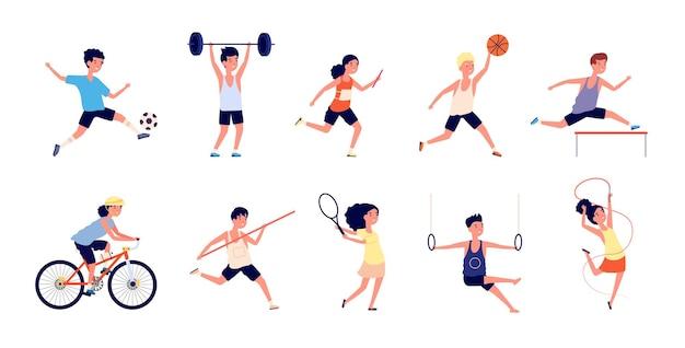 Crianças do esporte. meninas dançantes de desenhos animados