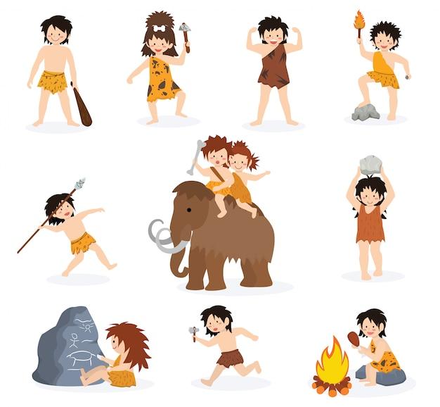Crianças do homem das cavernas vector personagem crianças primitivas e criança pré-histórica com arma chapada
