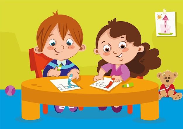 Crianças do jardim de infância fazendo exercícios de colorir ilustração vetorial