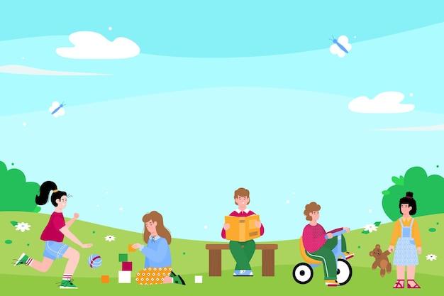 Crianças do jardim de infância ou pré-escolares brincando do lado de fora do apartamento